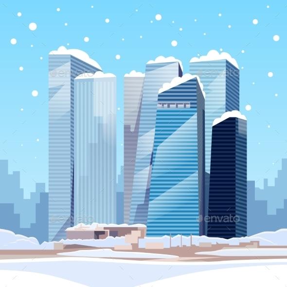 Winter City Skyscraper View Cityscape Snow Skyline - Buildings Objects