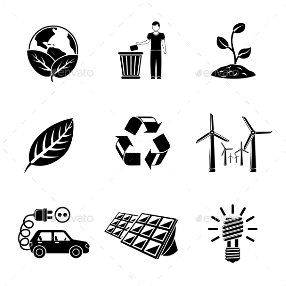 Set Of ECOLOGY Icons With - Recycle Sign, Green - Icons