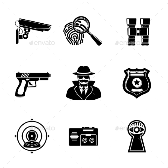 Set Of Spy Icons - Fingerprint, Spy, Gun - Icons