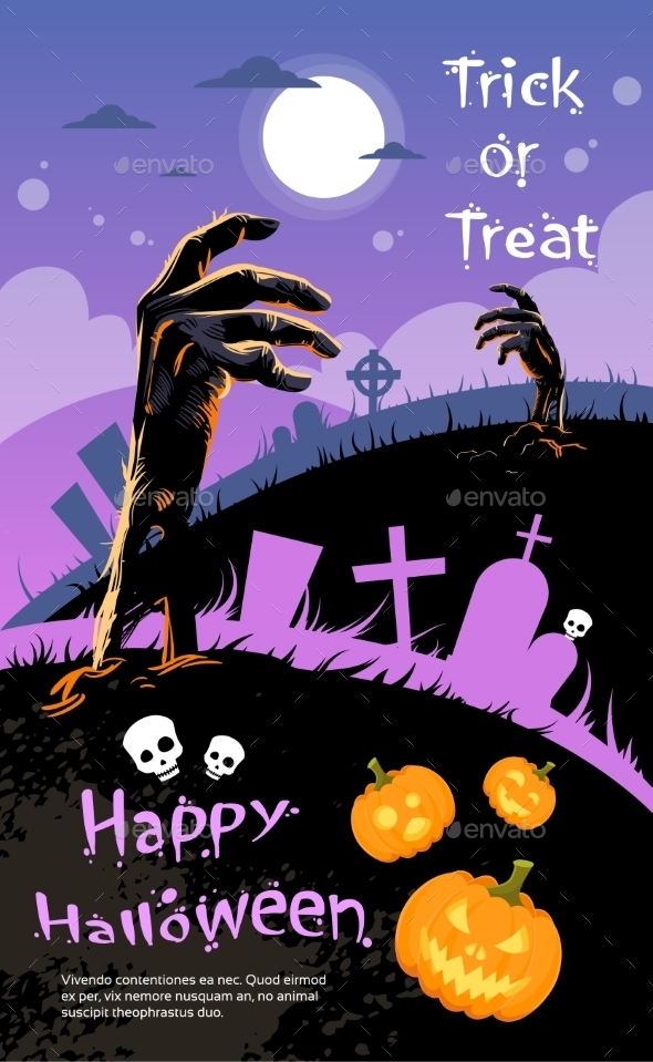Halloween Banner Cemetery Graveyard Hand - Halloween Seasons/Holidays
