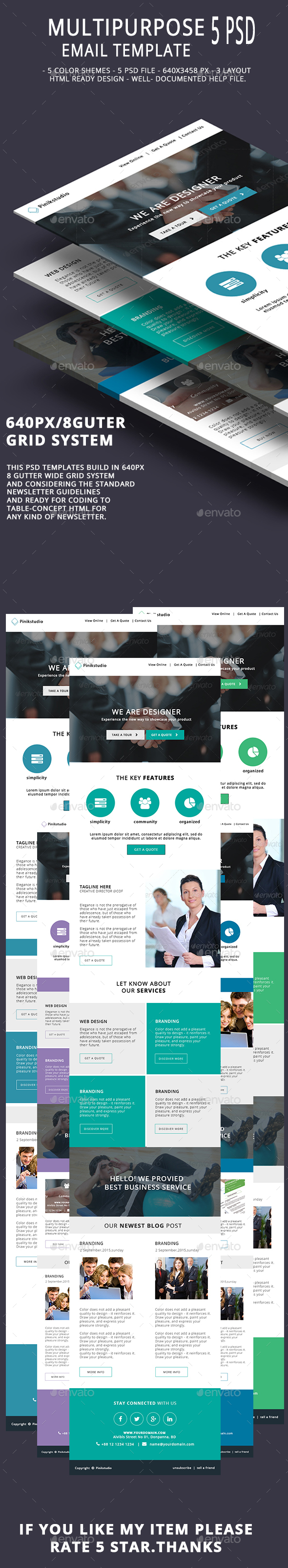 Multipurpose Email Template V7 - E-newsletters Web Elements