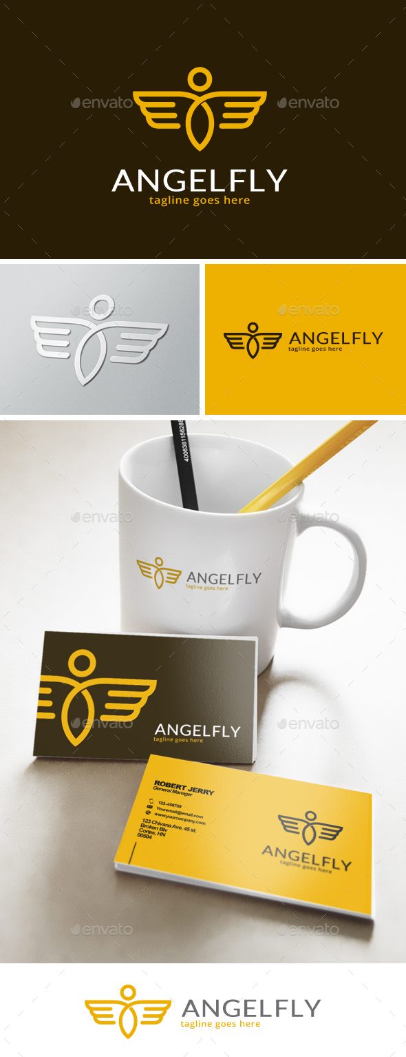 Angel Fly Logo - Humans Logo Templates
