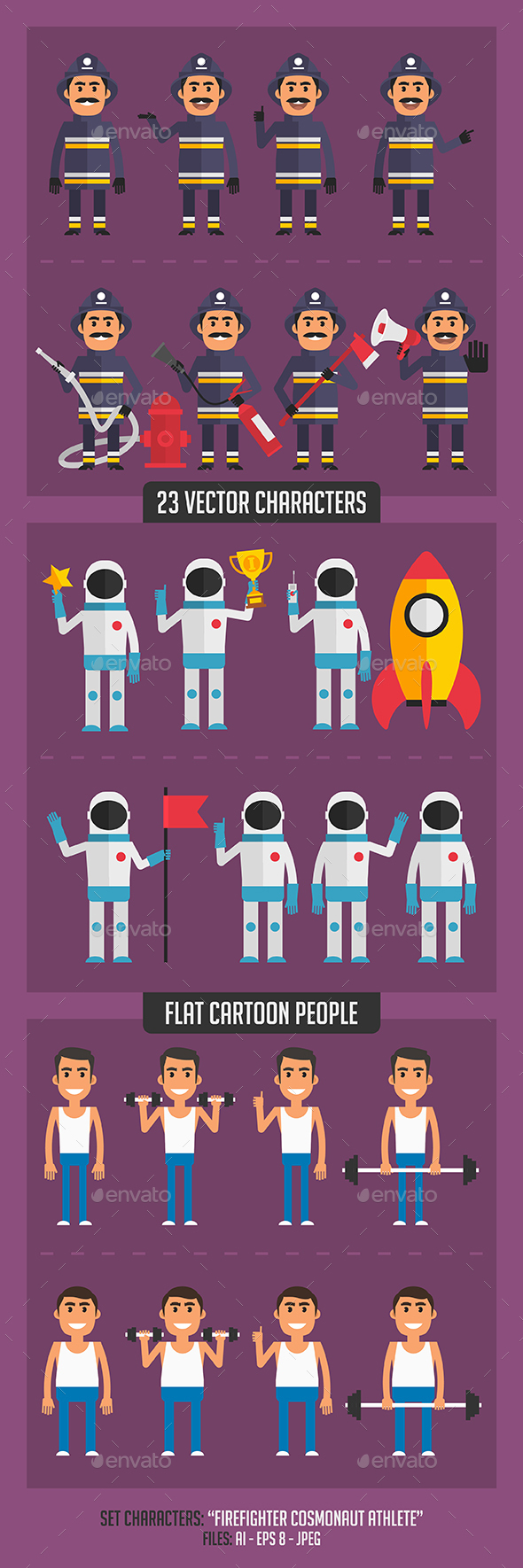 Firefighter Cosmonaut and Athlete - People Characters