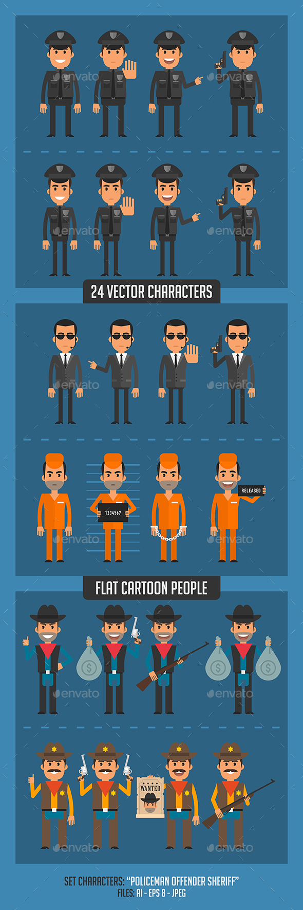 Policeman Offender and Sheriff - People Characters