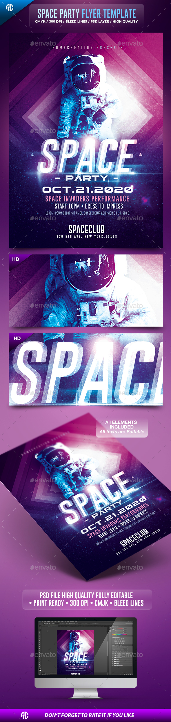 Space Night Party | Futuristic Flyer Template  - Events Flyers