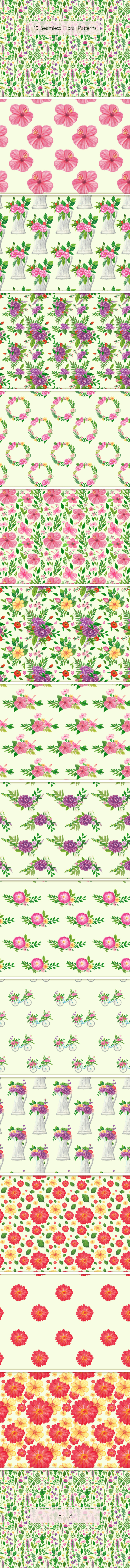 15 Seamless Floral Patterns - Nature Textures / Fills / Patterns