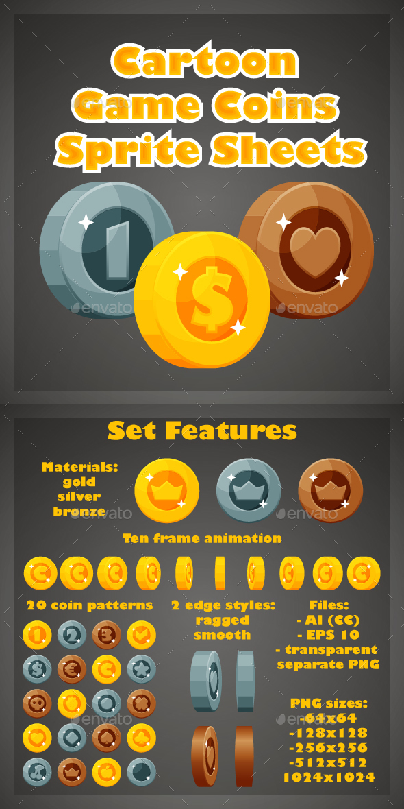 Cartoon Game Coins Sprite Sheets - Sprites Game Assets