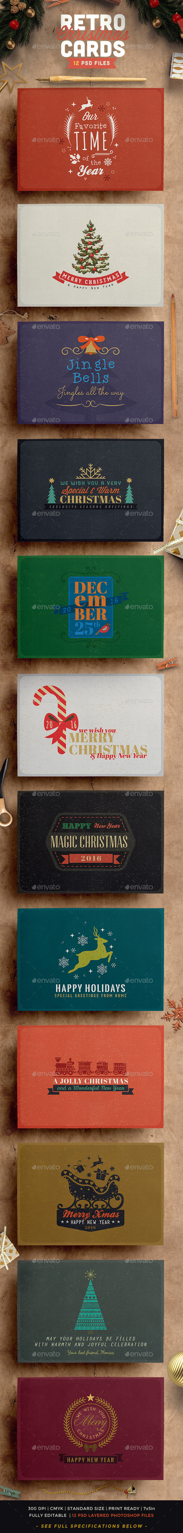 Retro Vintage Christmas Card Pack - Holiday Greeting Cards