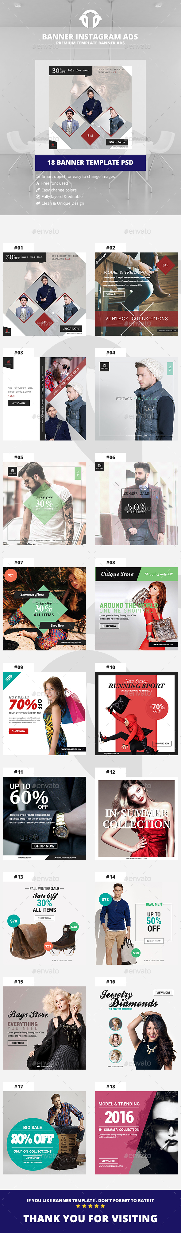 Bundle Instagram Banners Ads - Social Media Web Elements