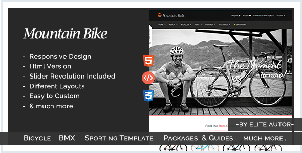 Mountain Bike - Bicycle and Bmx Sporting Template - Miscellaneous Site Templates
