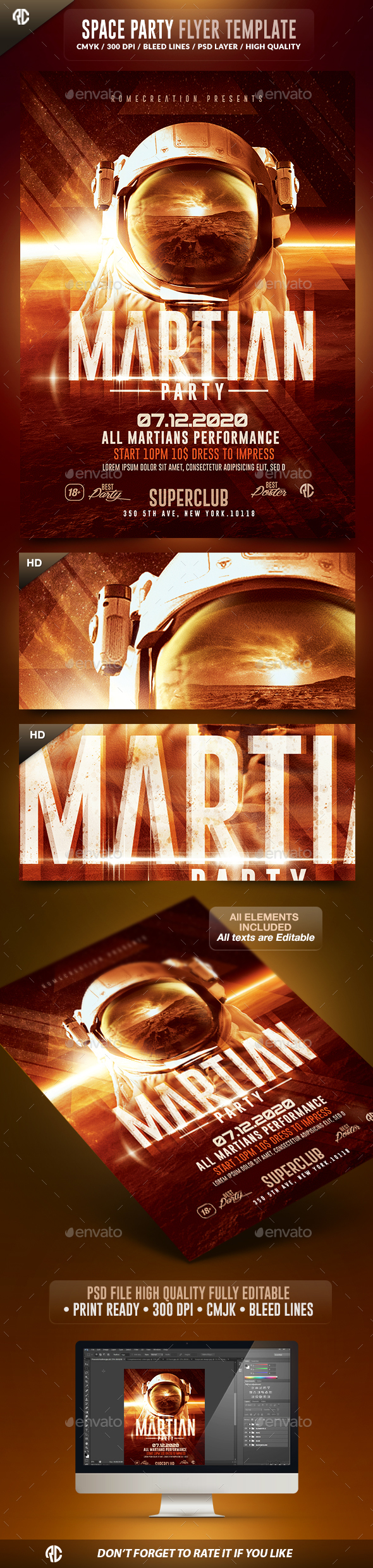 Martian Space Night  | Psd Flyer Template  - Events Flyers