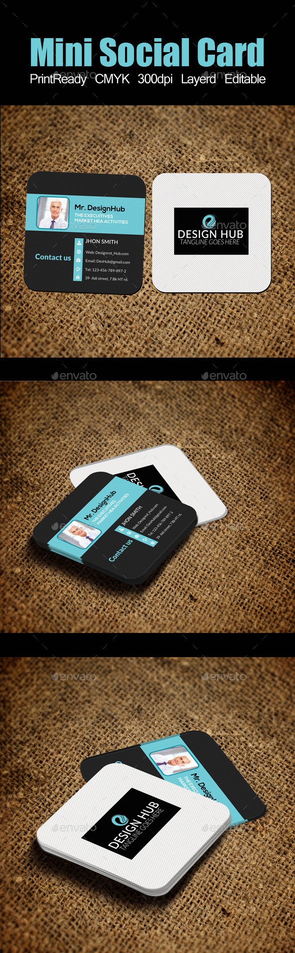 Mini Social Card Template - Business Cards Print Templates