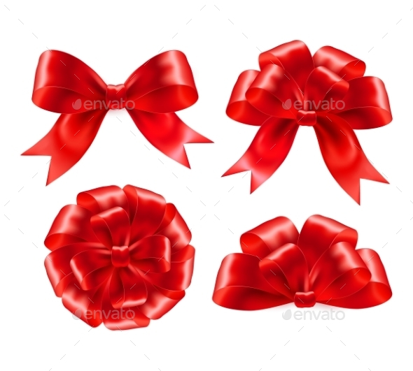 Red Gift Bows - Decorative Symbols Decorative