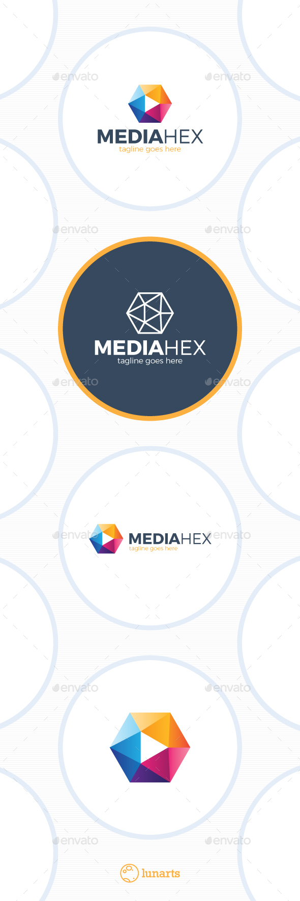 Media Hex Logo - Color Play - Symbols Logo Templates