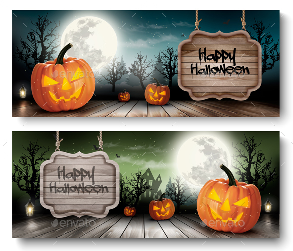 Two Holiday Halloween Banners with Pumpkins  - Halloween Seasons/Holidays