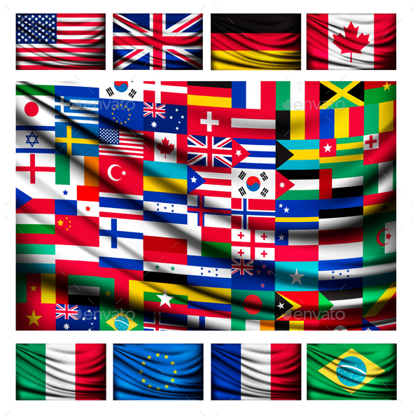 Flag Background Made of World Country Flags  - Concepts Business