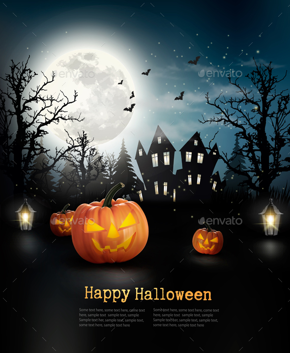 Halloween Spooky Background Vector - Halloween Seasons/Holidays