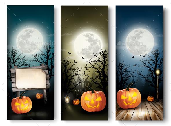 Holiday Halloween Banners with Pumpkins - Halloween Seasons/Holidays