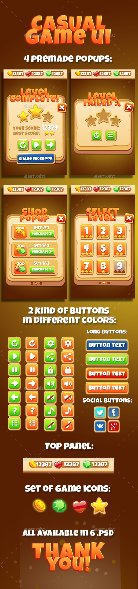 Brown Casual GUI Asset - User Interfaces Game Assets