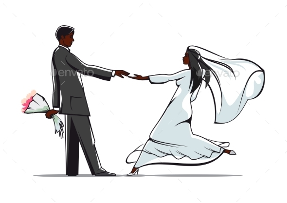 Happy Bride and Groom Joining Hands - Weddings Seasons/Holidays