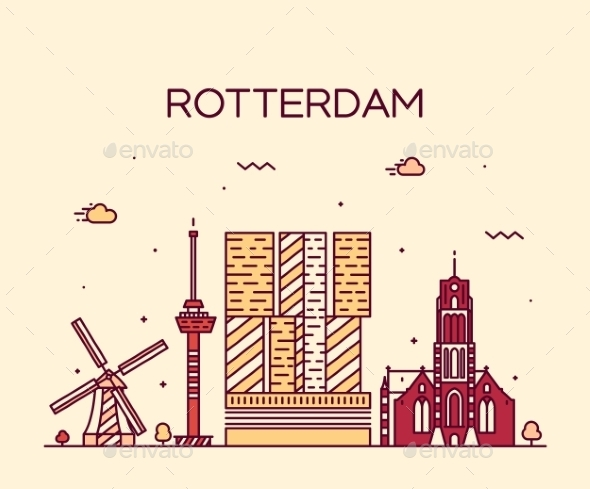 Rotterdam Skyline Silhouette Vector Linear Style - Travel Conceptual