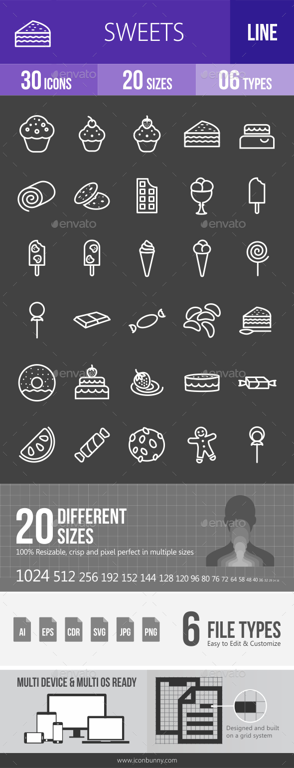 Sweets Line Inverted Icons - Icons
