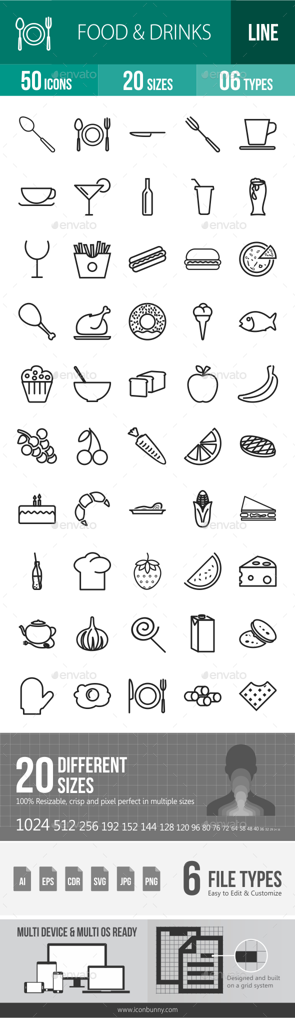 Food & Drinks Line Icons