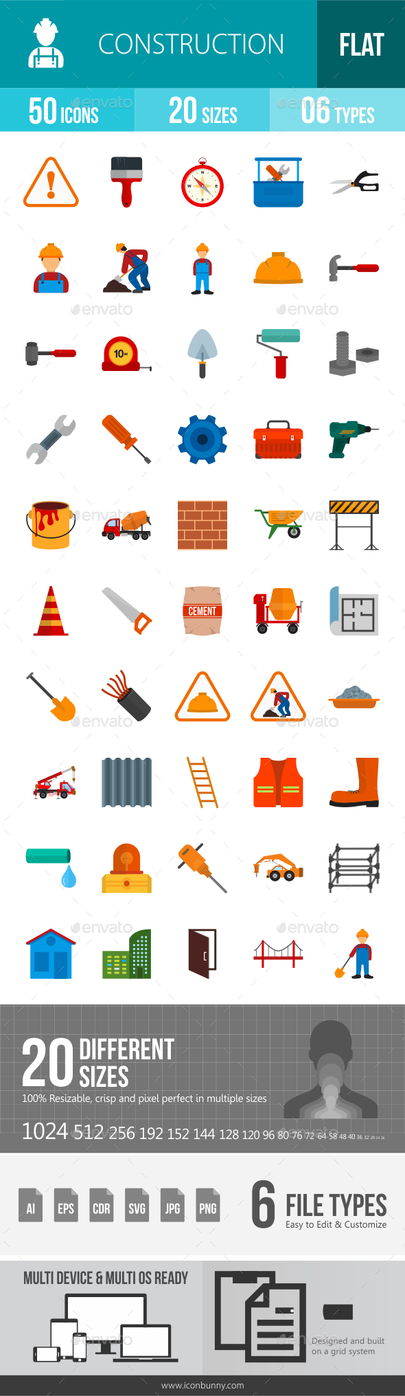 Construction Flat Multicolor Icons - Icons