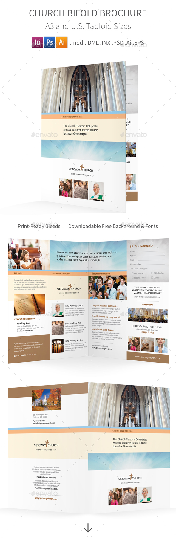 Church Bifold / Halffold Brochure - Informational Brochures
