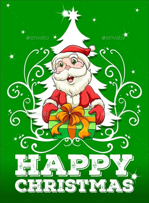 Happy Christmas Card with Santa - Christmas Seasons/Holidays