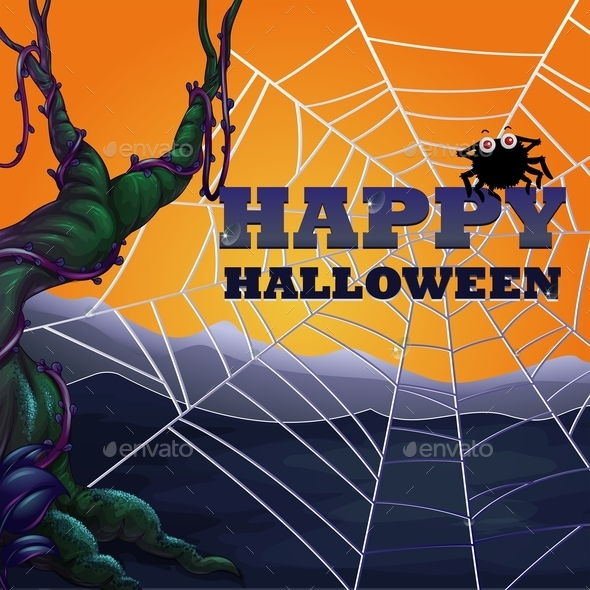 Halloween Theme with Spider Web - Halloween Seasons/Holidays