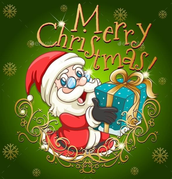 Merry Christmas Poster with Santa and Gift - Christmas Seasons/Holidays