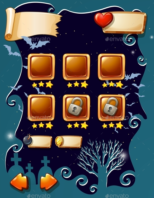 Game Template with Halloween Theme - Miscellaneous Vectors