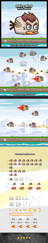 Flappy Hairy Bird Sprite Sheets - Sprites Game Assets