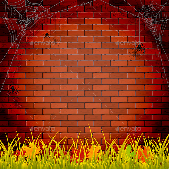 Autumn Background with Brick Wall - Seasons Nature