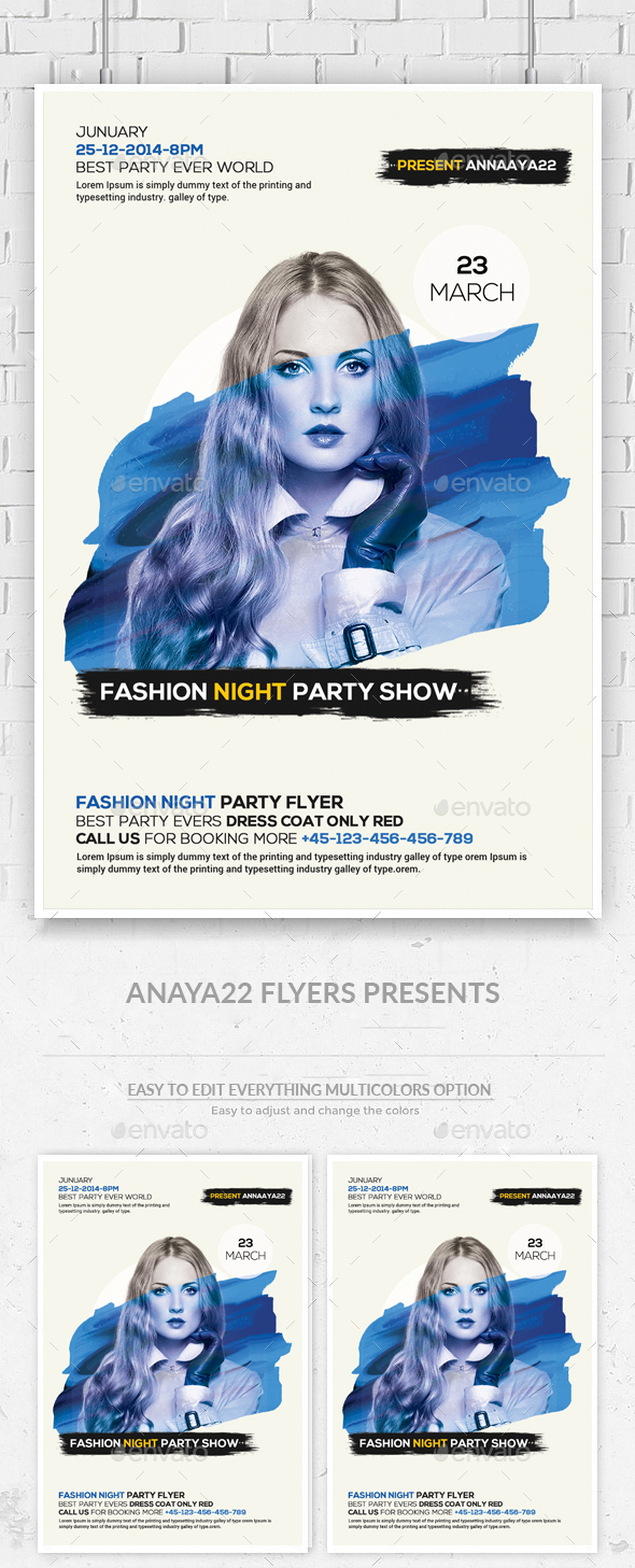 Fashion Night Psd Flyer Template - Clubs & Parties Events