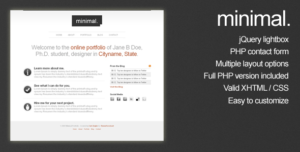 Minimal HTML Portfolio Site Template