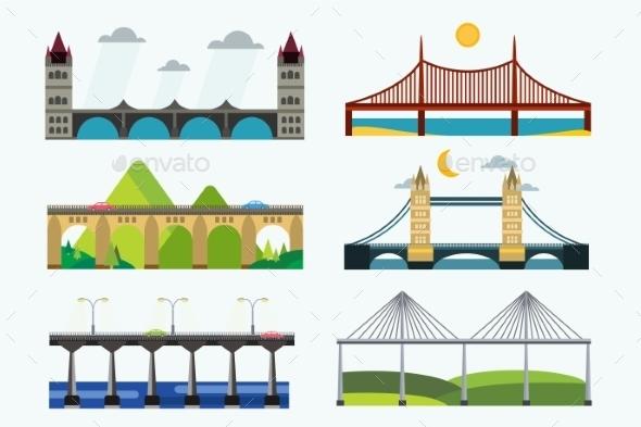 Bridge Silhouette Vector Illustration Set - Buildings Objects
