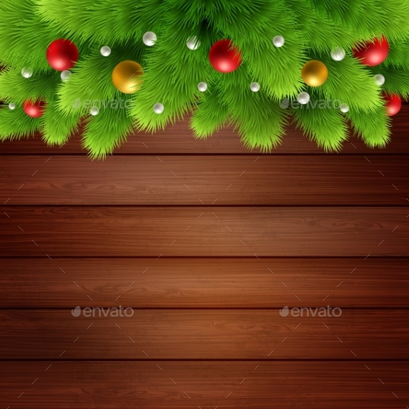 Wooden Background With Branches Of Christmas Tree  - Abstract Conceptual