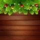 Wooden Background With Branches Of Christmas Tree  - GraphicRiver Item for Sale