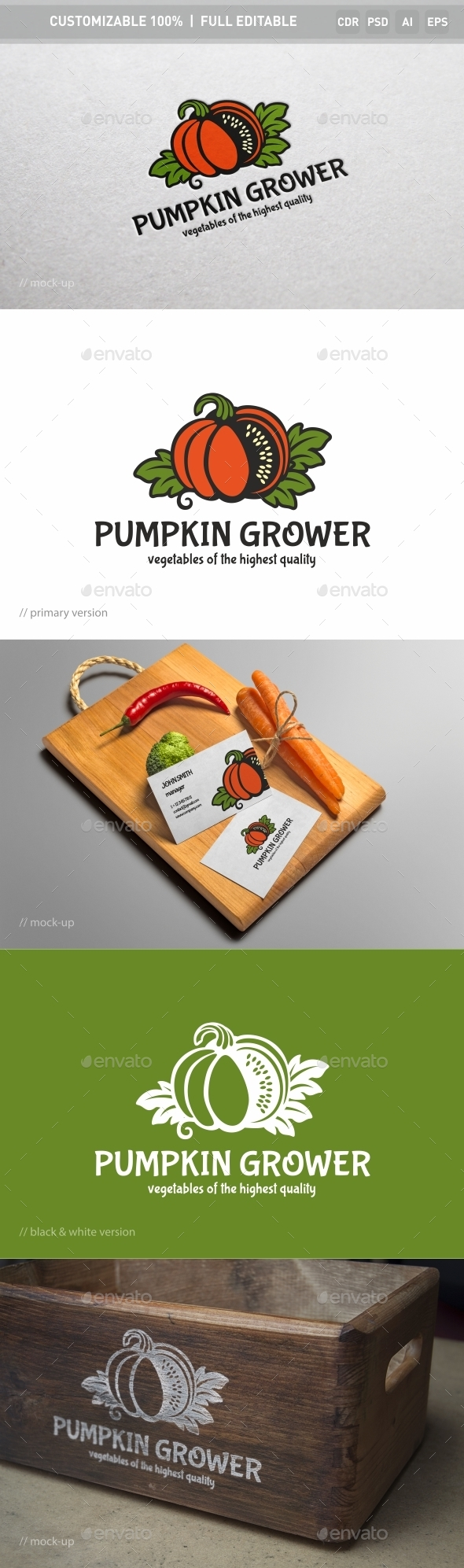 Pumpkin Grower Logo Template - Nature Logo Templates