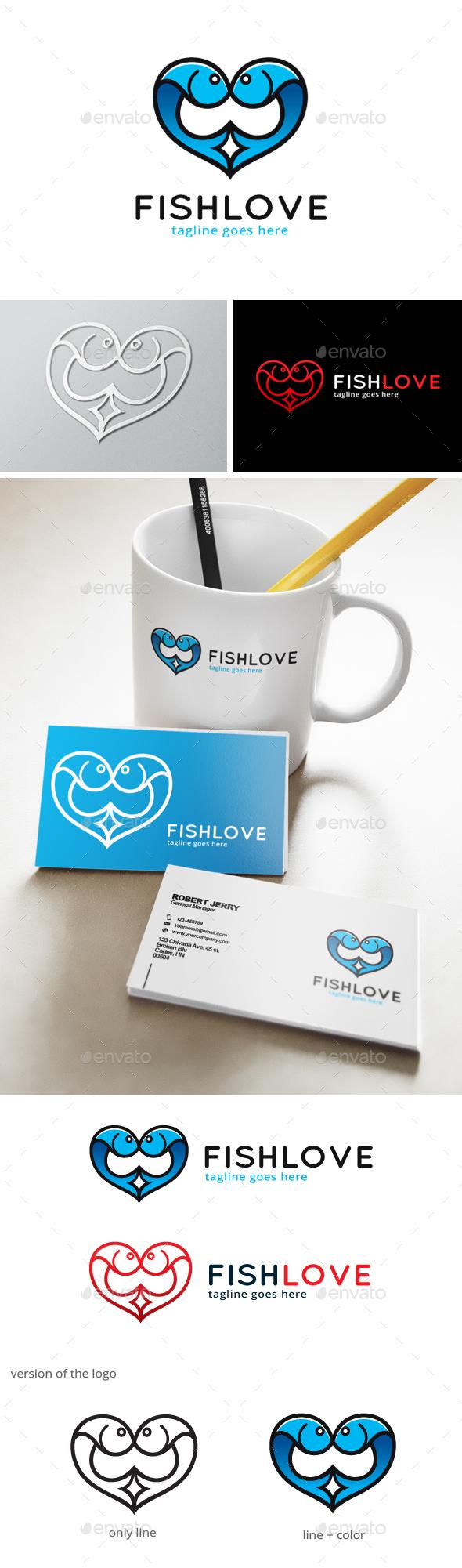 Fish Love Logo - Animals Logo Templates