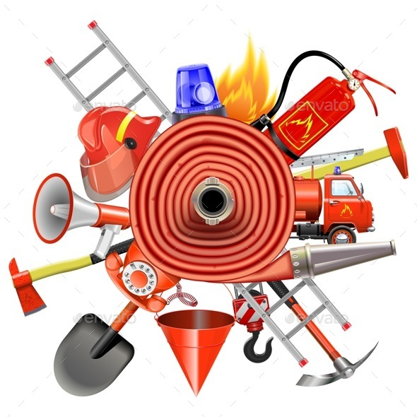 Vector Fire Prevention Concept with Firehose - Industries Business