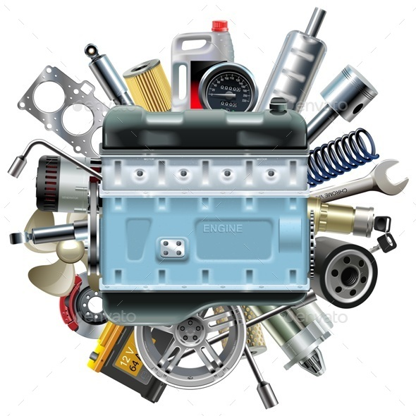 Vector Motor Engine with Car Spares - Industries Business
