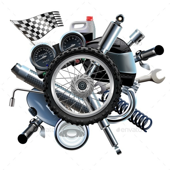 Vector Motorcycle Spares with Wheel - Industries Business