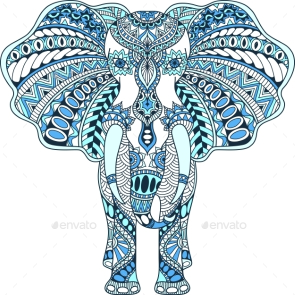 Vector Blue Decorated Indian Elephant - Patterns Decorative