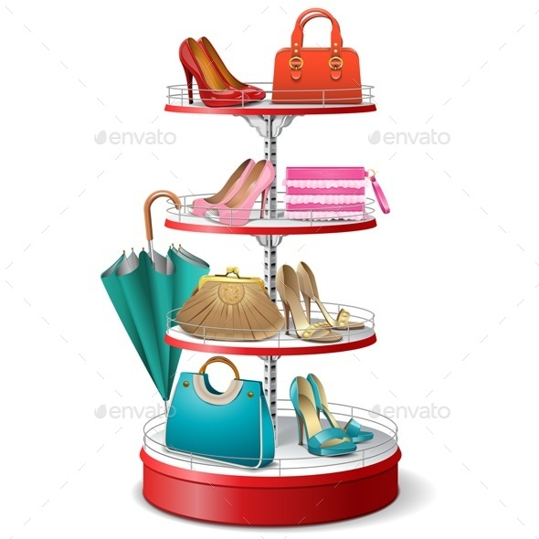 Vector Round Shelf with Female Accessories - Commercial / Shopping Conceptual