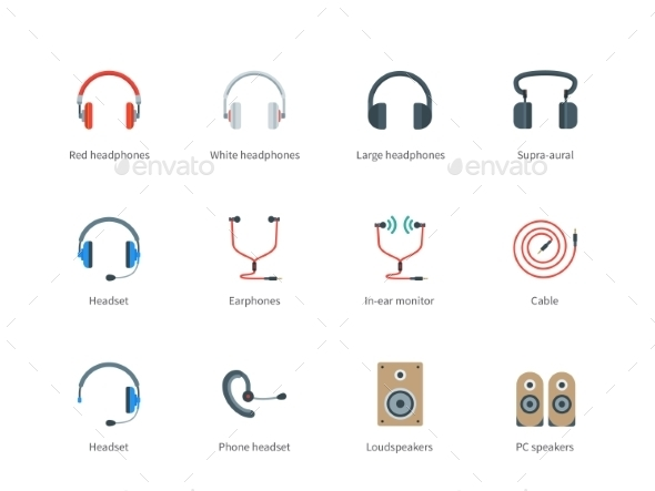 Headphones Color Icons On White Background - Media Icons