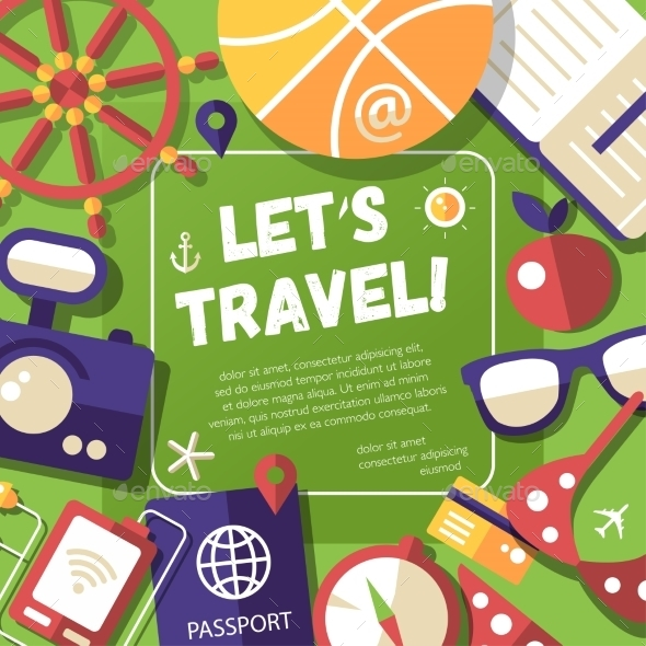 Flyer With Flat Design Travel, Vacation Icons - Travel Conceptual