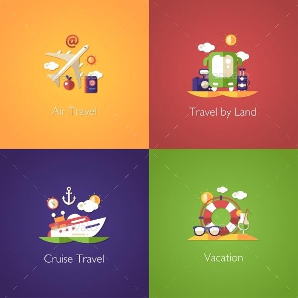 Set Of Travel Flat Design Compositions - Travel Conceptual